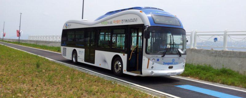 Draadloos opladen bus Korea