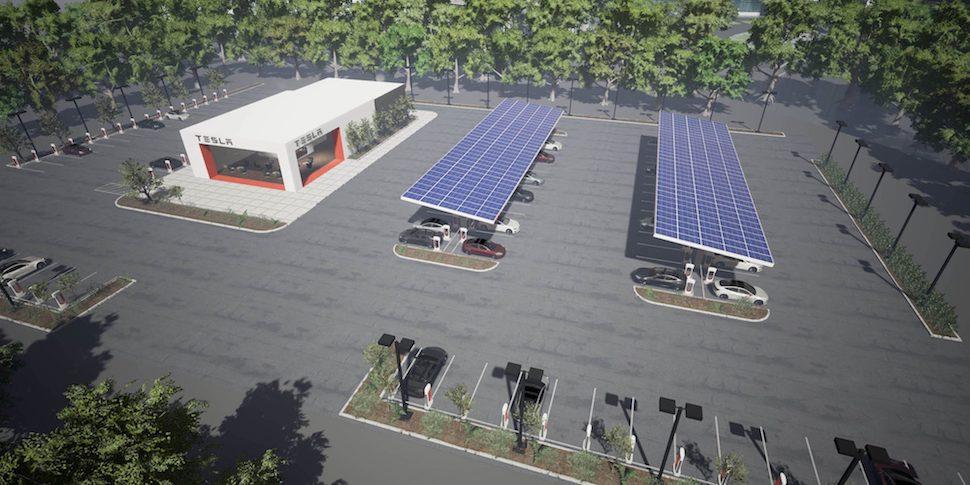 Tesla Supercharger stations met gemakswinkels