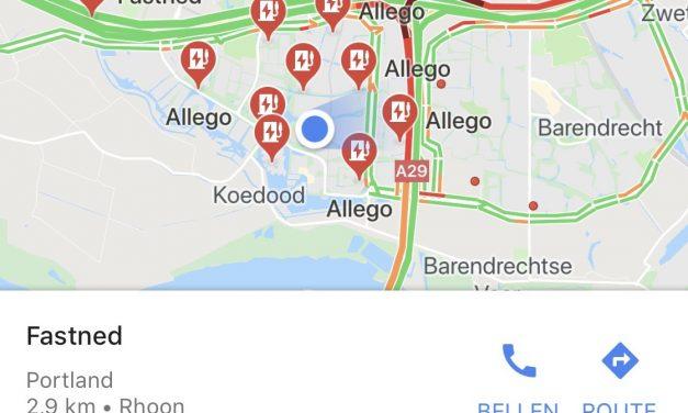 Google maps toont locatie laadpalen