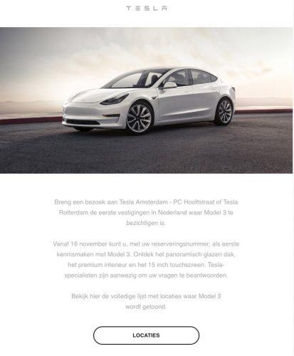 Tesla Model 3 uitnodiging